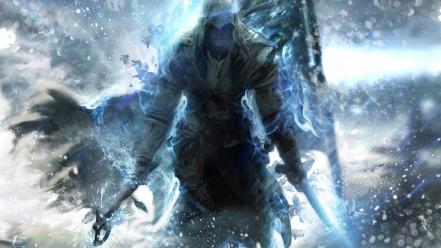 Video games blue assassin assassins creed 3 style wallpaper