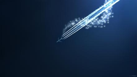 Aircraft shooting star blue background wallpaper