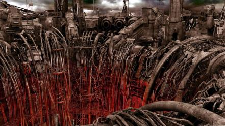Art science fiction artwork post apocalyptic cables wallpaper
