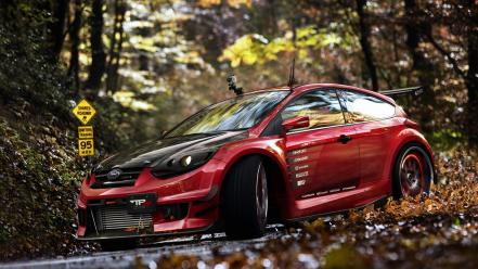 Autumn (season) forest cars ford focus wallpaper