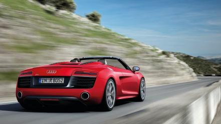 Cars audi roads convertible r8 red v10 wallpaper