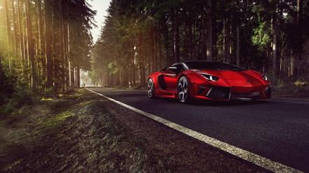 Lamborghini sunlight roads aventador reflections exotic mansory wallpaper