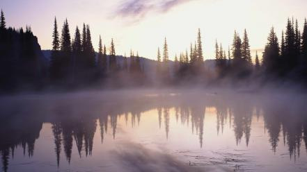 Landscapes nature fog lakes wallpaper