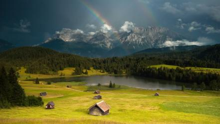 Mountains trees forest rainbows lakes wallpaper