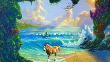 Nature horses puzzle wallpaper
