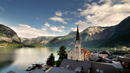 Nature houses church lakes hallstatt cities view wallpaper