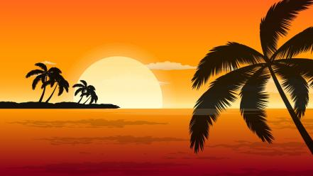 Sunset orange vector shadows palm trees wallpaper