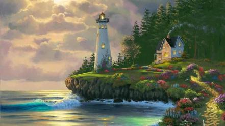 Trees lighthouses artwork skyscapes sea wallpaper