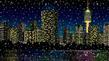 Vector city skyline snowing Wallpaper
