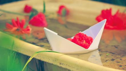 Water flowers papercraft paper boat red blurred background wallpaper