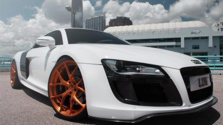 White golden tuning audi r8 wallpaper