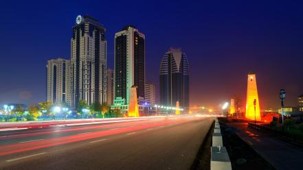 Cityscapes night russia buildings roads cities grozny city wallpaper