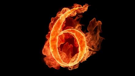 Flames black fire typography numbers six Wallpaper