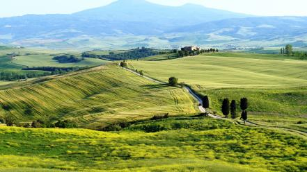 Landscapes nature horizon fields hills italy roads tuscany wallpaper