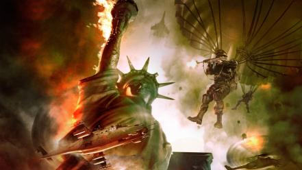 Statue of liberty world in conflict parachuting wallpaper
