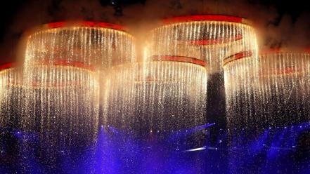 Water fire fireworks stadium performance olympics 2012 wallpaper