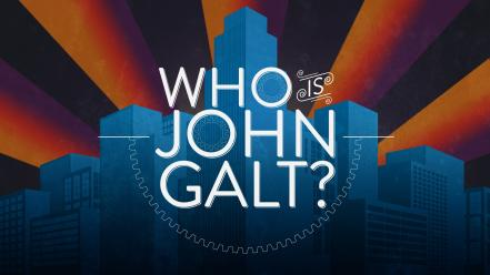 Atlas shrugged john galt art deco sunburst wallpaper