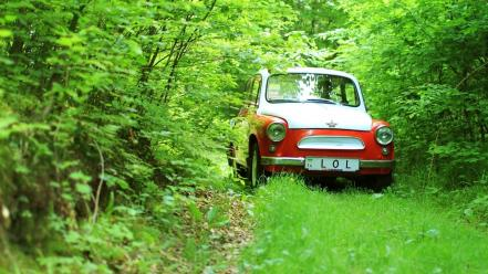 Forest zaz old cars ukrainian offroad classic Wallpaper