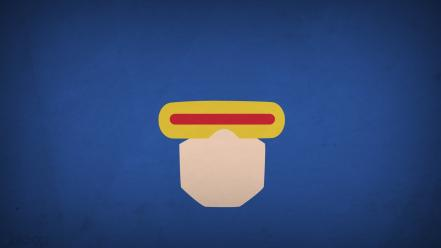 Minimalistic x-men superheroes cyclops blue background blo0p Wallpaper
