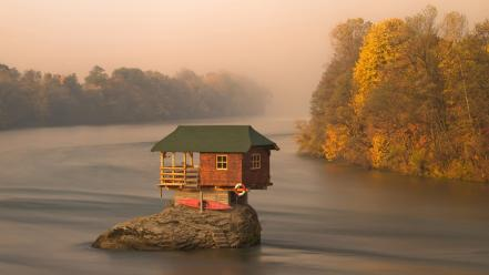 Water landscapes nature forest rock cabin lakes view wallpaper