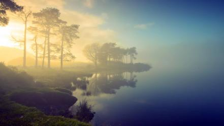 Water landscapes nature sun fog sea wallpaper