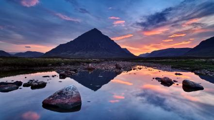 Clouds nature rocks scotland rivers skyscapes reflections wallpaper
