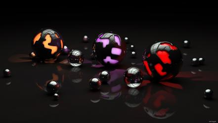 Light abstract spiral mechanical spheres 3d orbs wallpaper