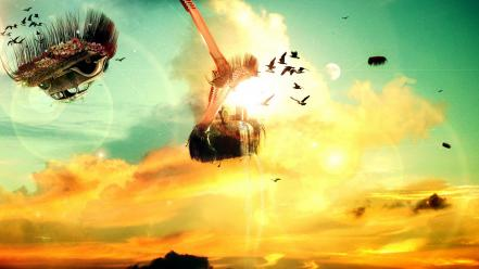 Surreal floating island desktopography creativity skies birds wallpaper
