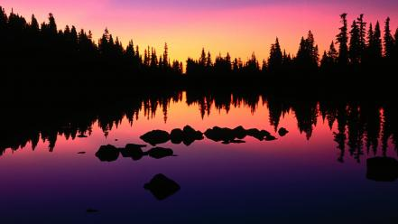 Trees silhouette oregon lakes reflections wallpaper