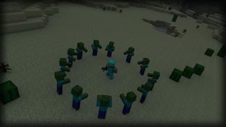 Water night zombies desert steve minecraft cactus swords wallpaper