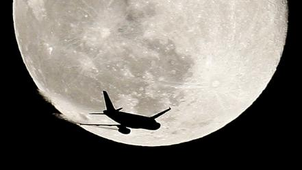 Aircraft moon wallpaper