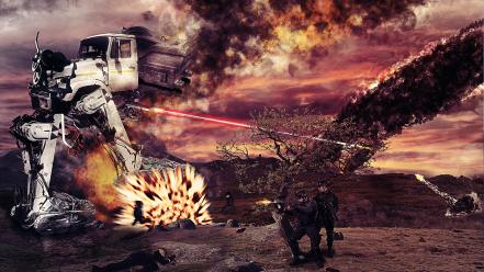 Flames soldiers war robots smoke fight photomanipulation wallpaper