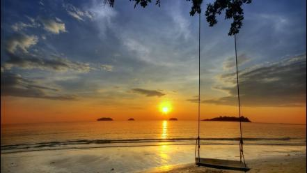 Nature swings seascapes wallpaper