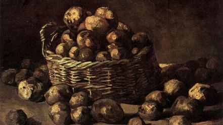 Artwork potatoes baskets traditional art still life Wallpaper