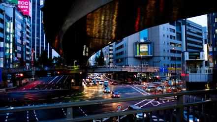 Japan tokyo cityscapes streets cars bridges buildings traffic wallpaper