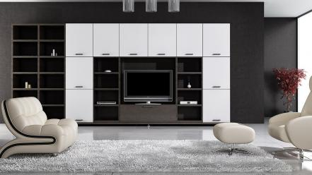 Living room white and black interior design wallpaper