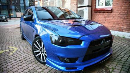 Mitsubishi tuning lancer evolution x blue cars wallpaper