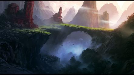 Mountains path fantasy art hidden wallpaper