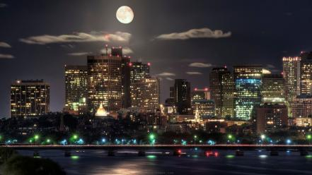 Nature night world moon usa boston capital massachusetts wallpaper