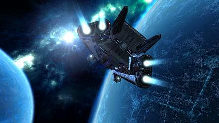 Outer space planets spaceships x3: terran conflict wallpaper