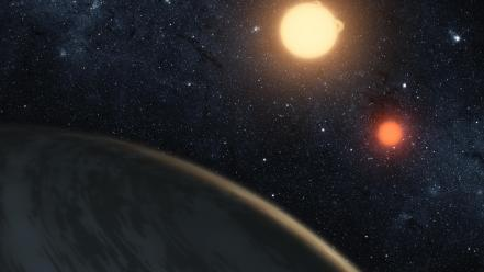 Outer space stars system kepler-16b wallpaper
