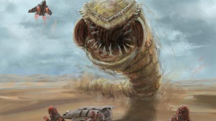 Video games artwork dune worms game wallpaper