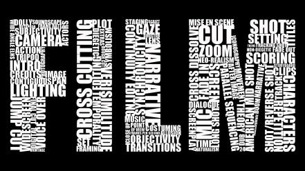 Black and white movies typography film filmmaking wallpaper