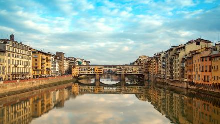 Cityscapes bridges florence reflections wallpaper