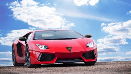 Clouds cars supercars tuning lamborghini aventador red wallpaper
