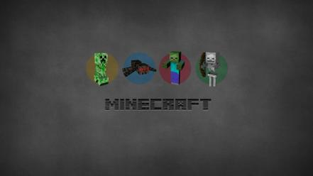 Minimalistic creeper skeletor minecraft spiders porkchop wallpaper