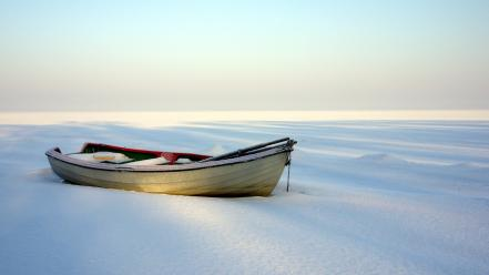 Snow beach boats wallpaper