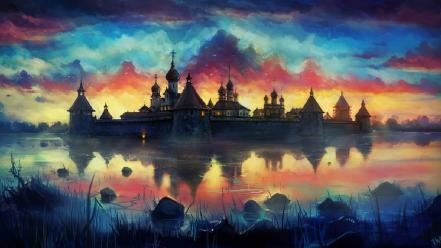 Water paintings castles multicolor fantasy art Wallpaper