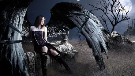 Wings black trees moon grass gothic angel wallpaper