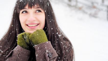 Brunettes snow long hair new year bangs 2013 Wallpaper